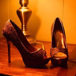 Julianne Pumps From Bakers Bronze Burgundy Peeptoe